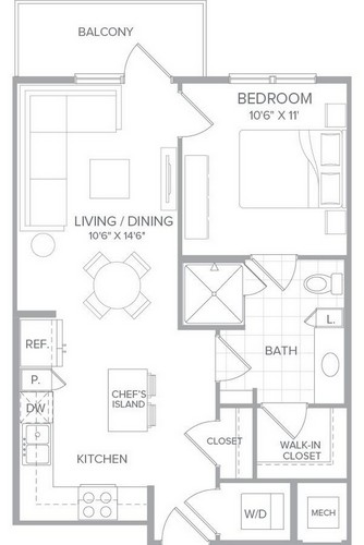 643 sq. ft. A1A floor plan