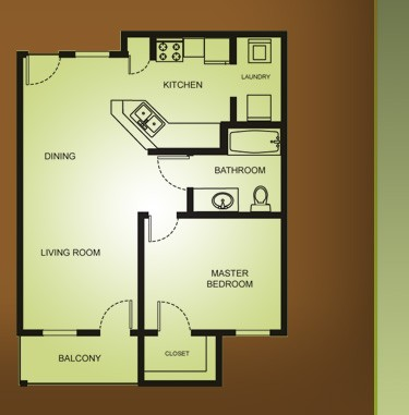 680 sq. ft. A2-ELM 30% floor plan