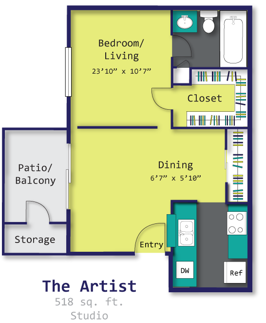 518 sq. ft. to 548 sq. ft. A1 floor plan