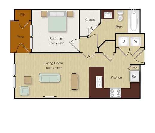 606 sq. ft. A4 floor plan
