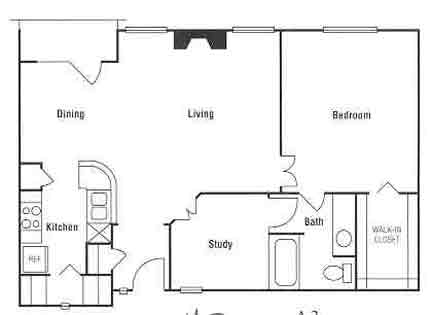 957 sq. ft. floor plan