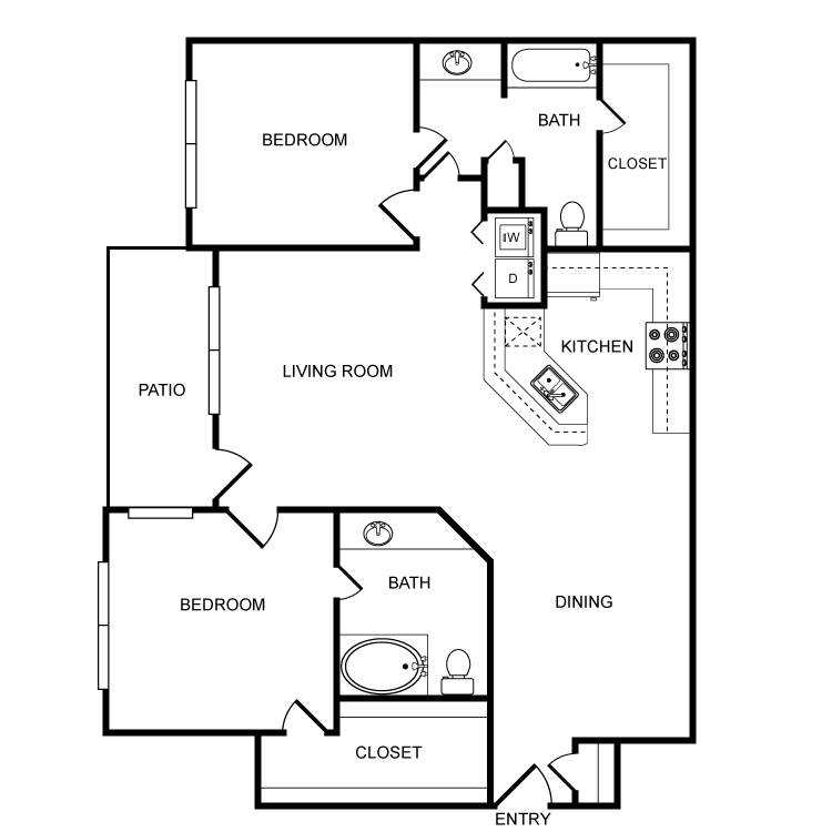 1,198 sq. ft. F floor plan