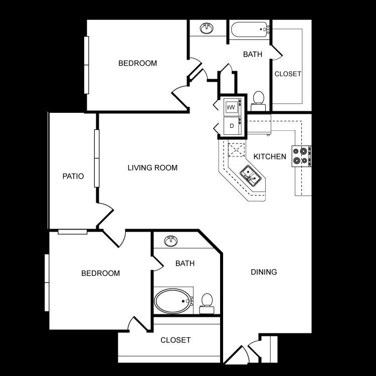 1,198 sq. ft. F floor plan
