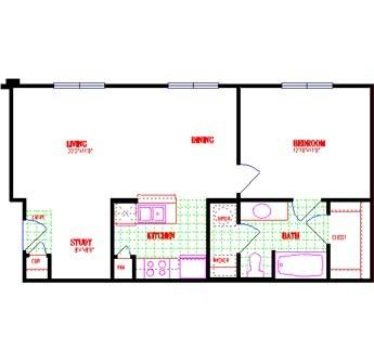 698 sq. ft. floor plan