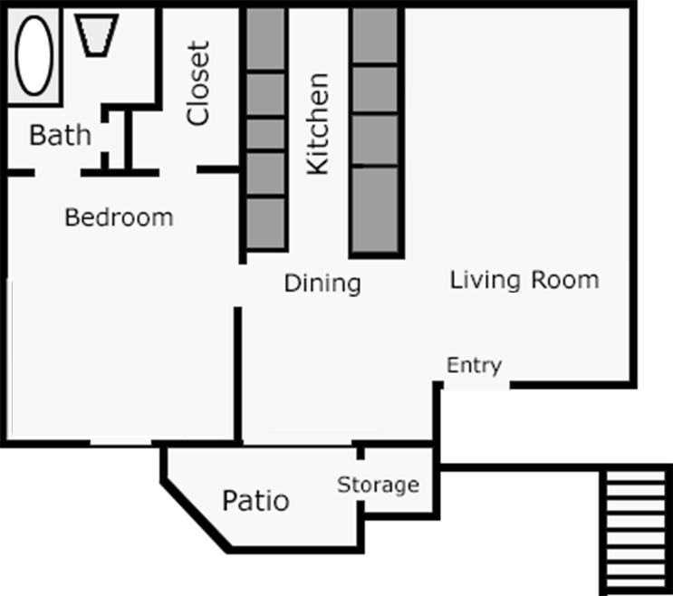722 sq. ft. Tulip floor plan