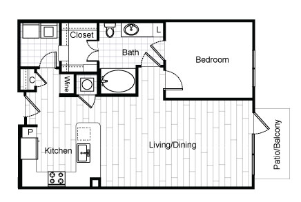 820 sq. ft. A3.1 floor plan