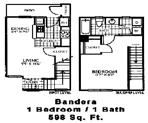 598 sq. ft. A2 floor plan
