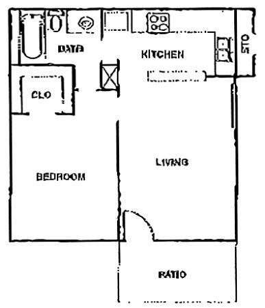 552 sq. ft. B floor plan