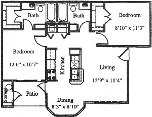 842 sq. ft. B2/60% floor plan