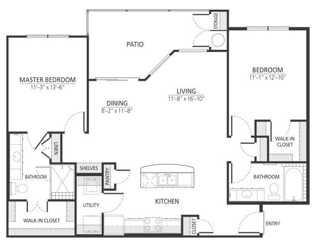 1,155 sq. ft. B1 floor plan