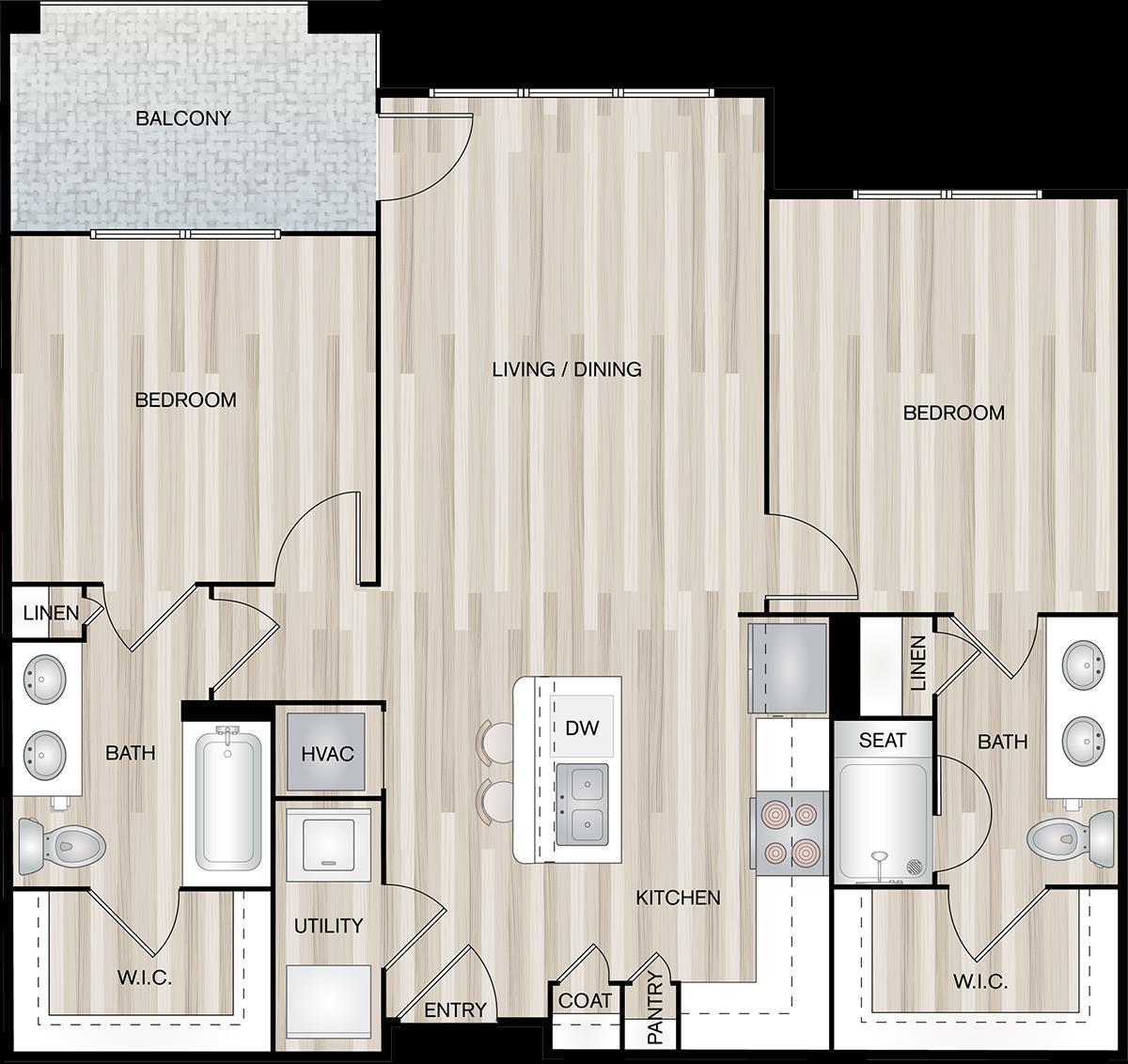 1,096 sq. ft. B1-Port floor plan