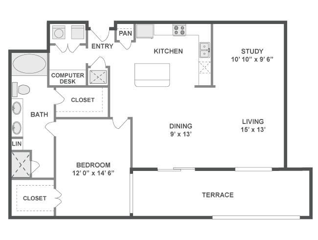 1,137 sq. ft. Surge floor plan