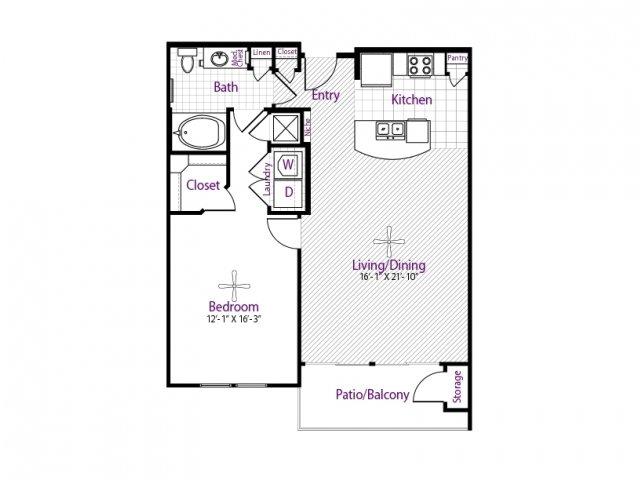 869 sq. ft. floor plan