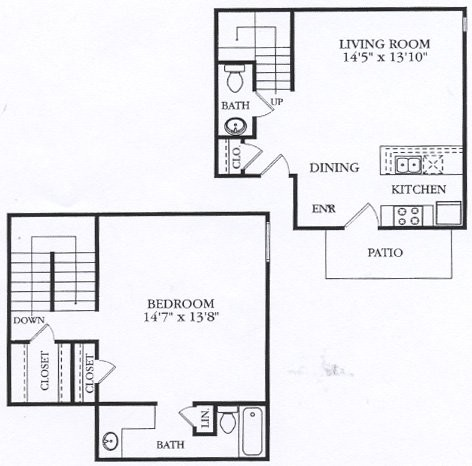 868 sq. ft. A3 floor plan