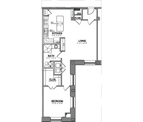 1,015 sq. ft. Unit 15-5 floor plan