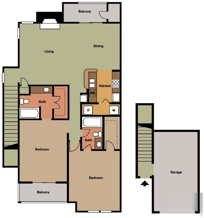 1,164 sq. ft. J1 TH floor plan