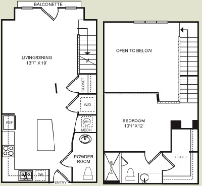 864 sq. ft. S2L floor plan