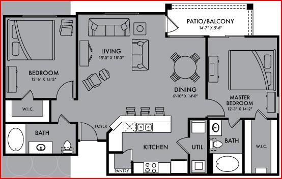 1,170 sq. ft. Pandora floor plan