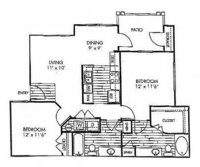 995 sq. ft. B2 floor plan