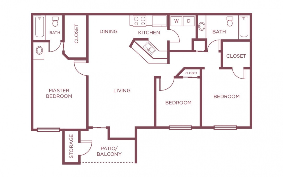 1,125 sq. ft. F floor plan