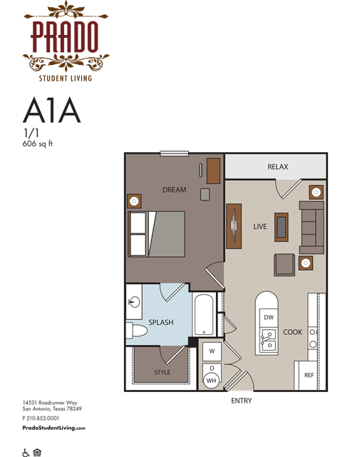 606 sq. ft. A1A floor plan