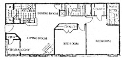 1,050 sq. ft. D floor plan