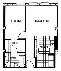 644 sq. ft. P2A-60 floor plan