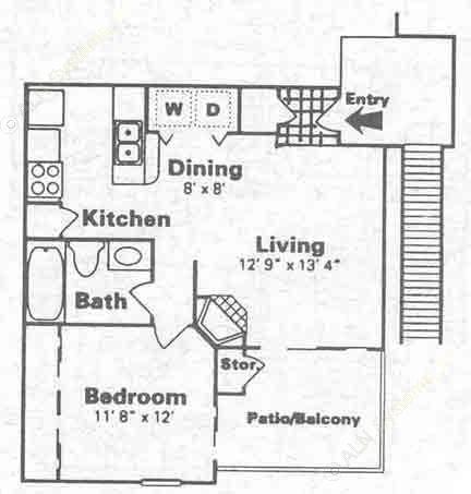 600 sq. ft. B floor plan
