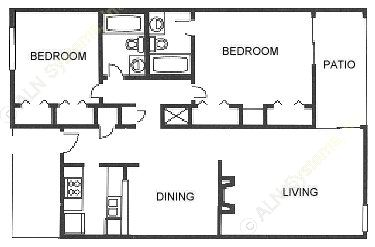 1,037 sq. ft. A1 floor plan
