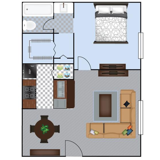 597 sq. ft. A2 floor plan