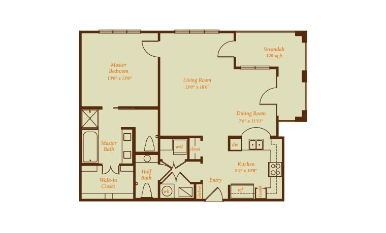 1,142 sq. ft. Aracena floor plan