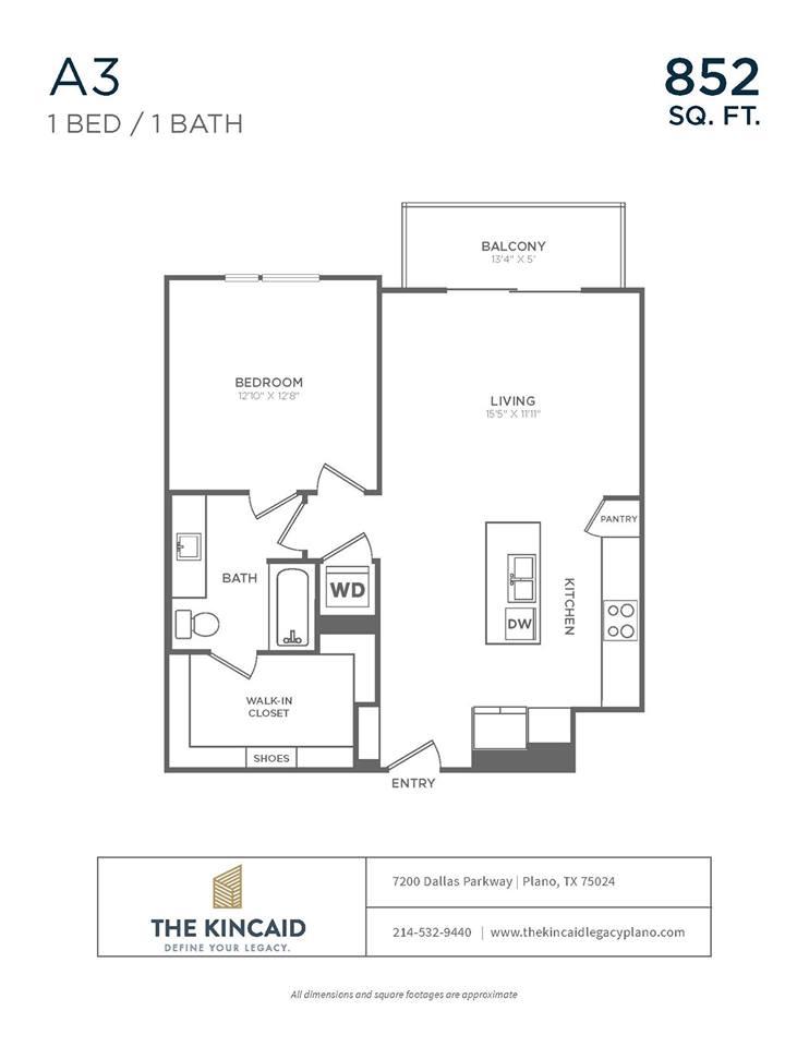 852 sq. ft. A3 floor plan