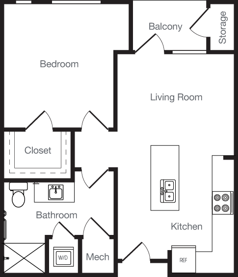 777 sq. ft. 1F floor plan