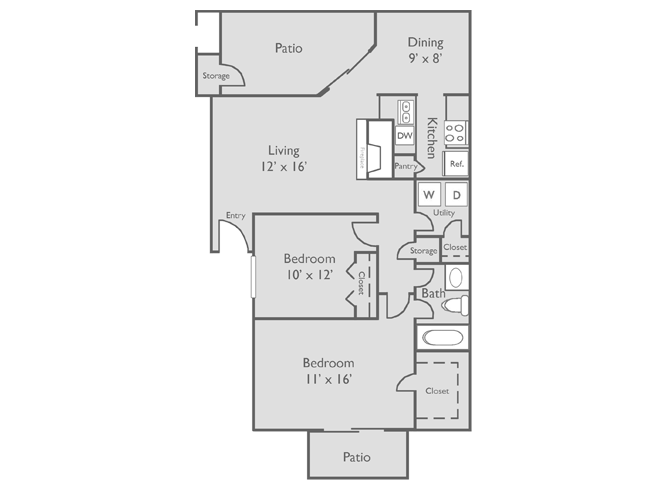 893 sq. ft. C floor plan