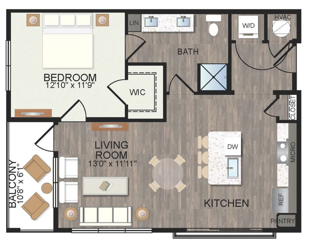 830 sq. ft. Mulberry floor plan