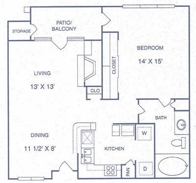 765 sq. ft. CP floor plan