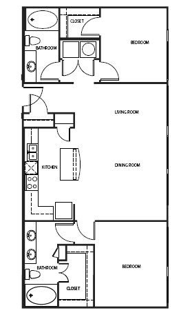 1,250 sq. ft. 2B4 floor plan