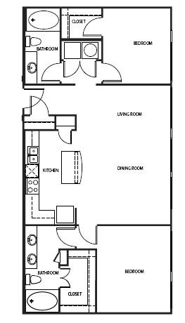 1,261 sq. ft. B2-P floor plan