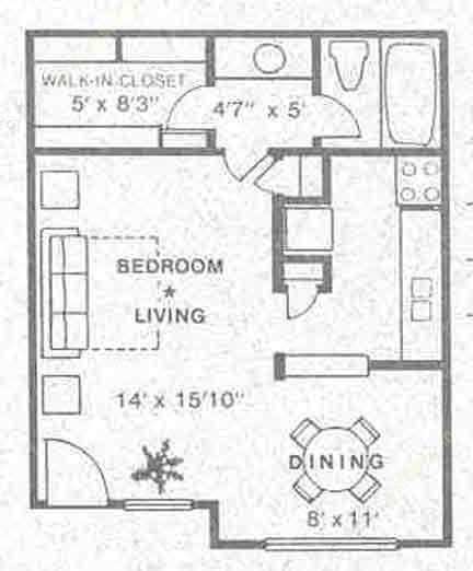 463 sq. ft. E1 floor plan