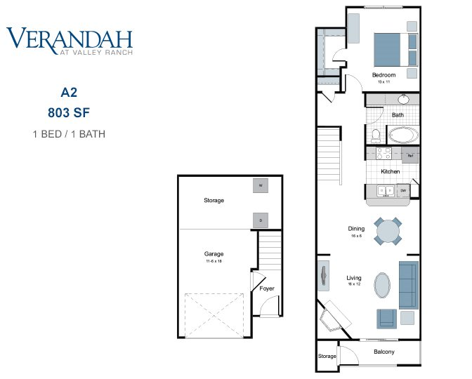 803 sq. ft. A2T-GAR. floor plan