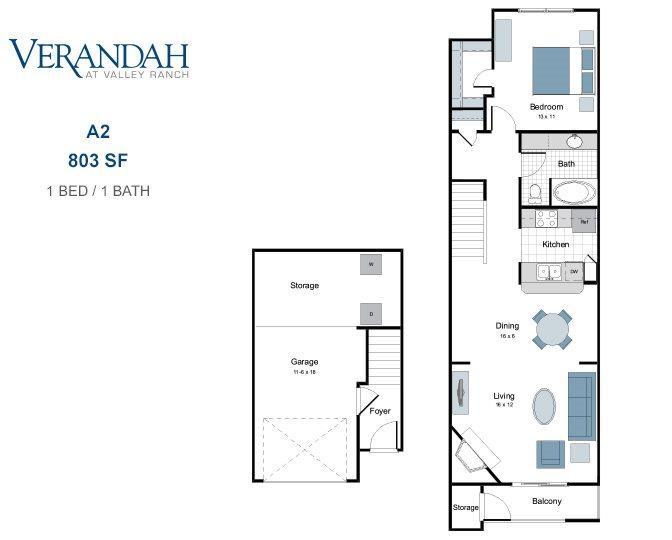 803 sq. ft. A2T-GAR. floor plan