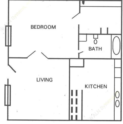 420 sq. ft. floor plan