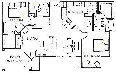 1,222 sq. ft. E floor plan