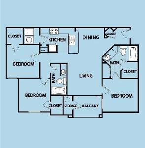 1,250 sq. ft. C2 GAR floor plan