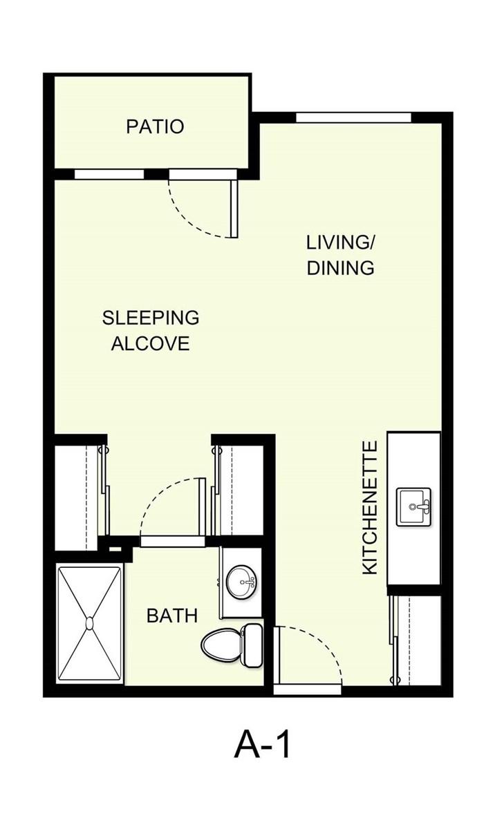 404 sq. ft. A1 floor plan