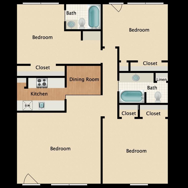 1,164 sq. ft. C1 floor plan