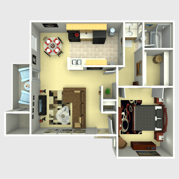 656 sq. ft. B floor plan