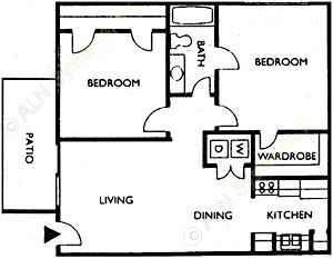 747 sq. ft. DOUGLAS floor plan