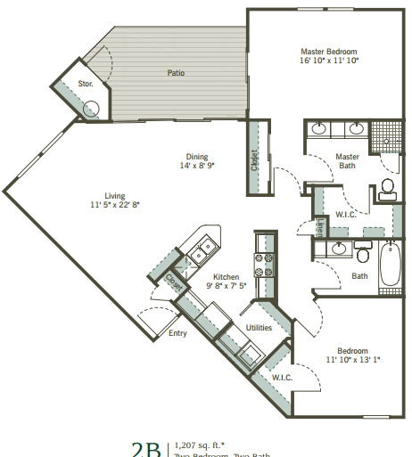1,207 sq. ft. 2B floor plan