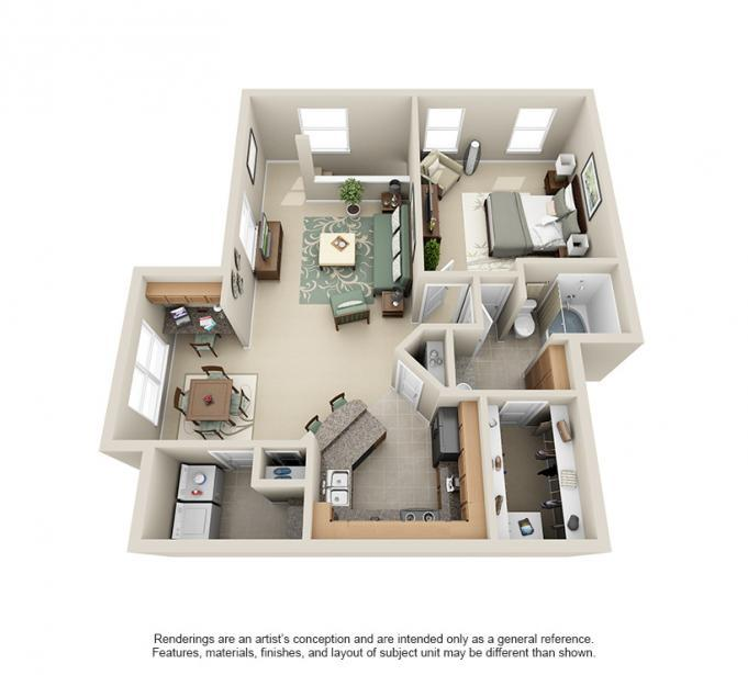 943 sq. ft. Cypress floor plan